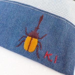 カブトムシの刺繍