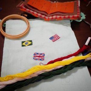 国旗の刺繍